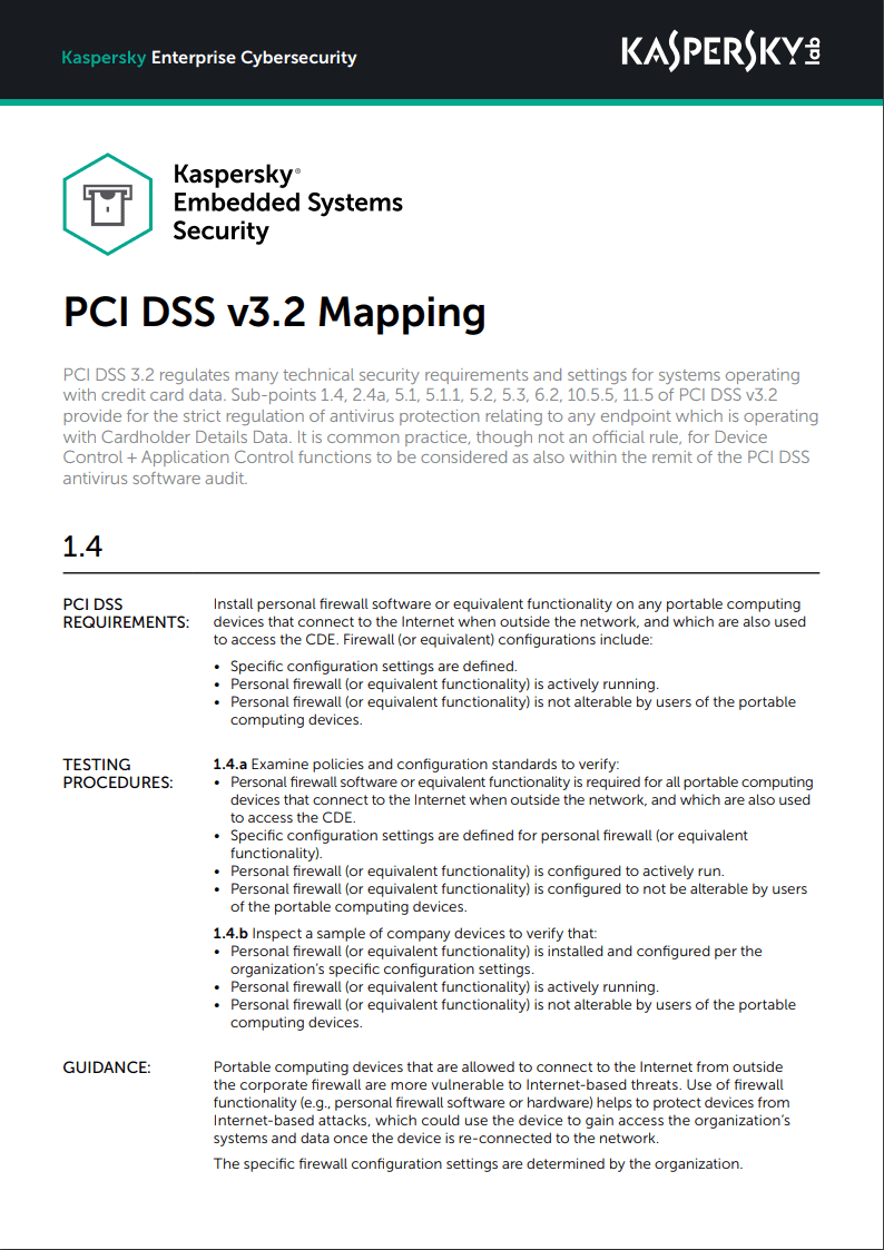 Kaspersky Embedded Systems Security - PCI DSS v3.2 Mapping