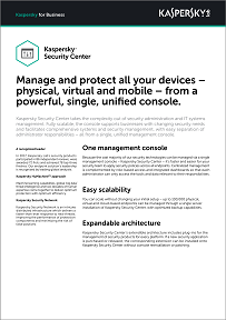 KASPERSKY SECURITY CENTER DATASHEET